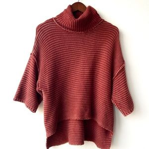 Gilded Intent Rust Chunky Turtleneck Sweater